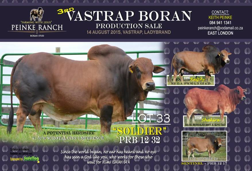 Soldier PRB sold to Mon Bijou for R70'000.